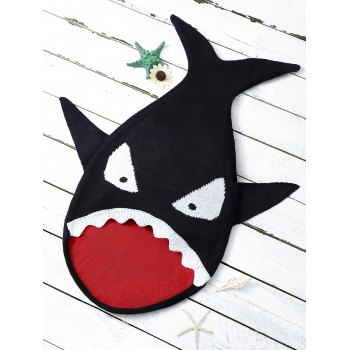 Cartoon Shark Shape Blanket Throw For Baby - BLACK BLACK