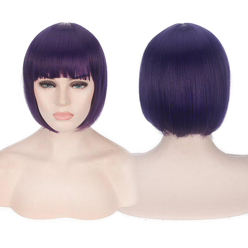 Short Neat Bang Candy Color Straight Synthetic Cosplay Wig short