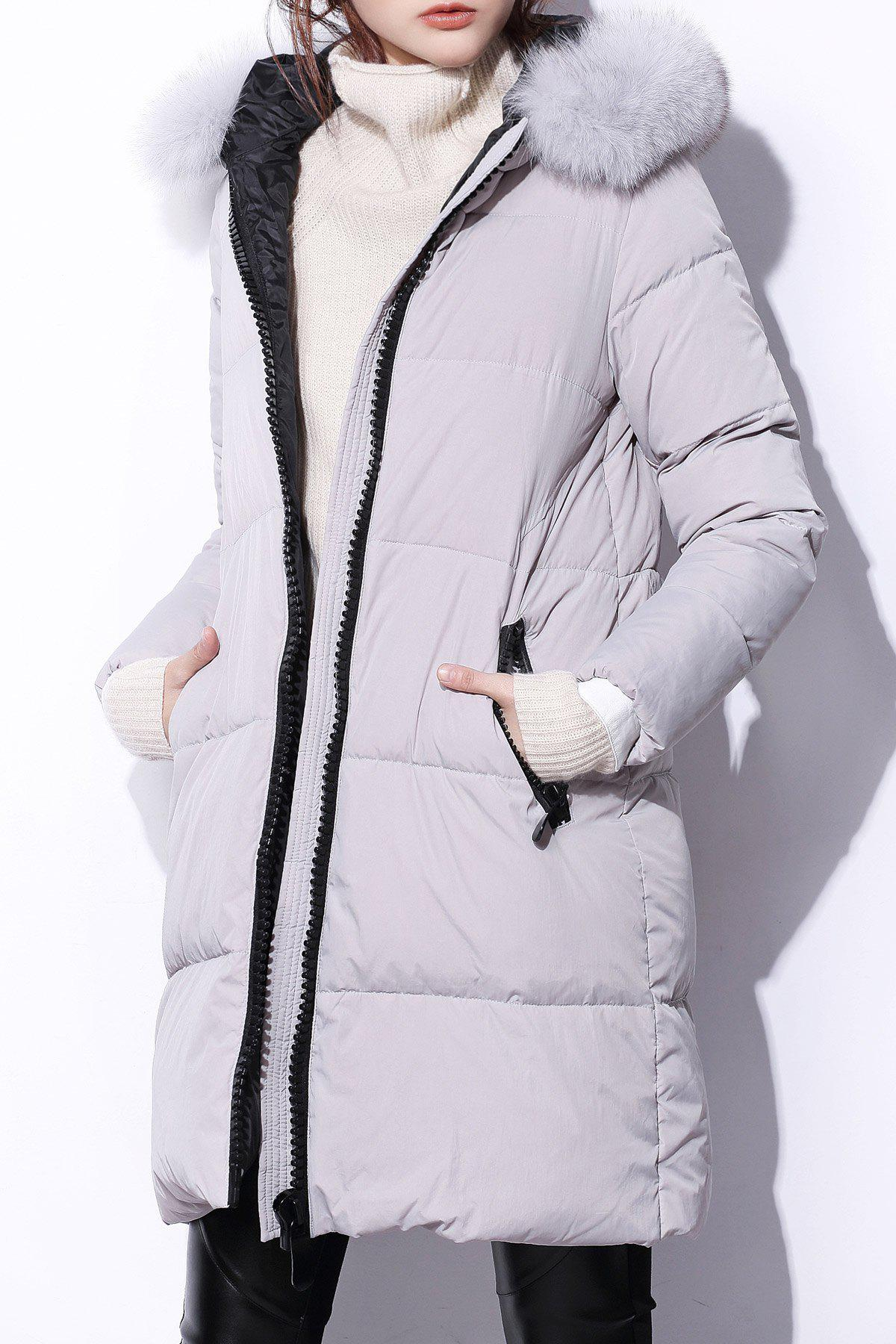 Zipper Down Coat with Fur HoodWomen<br><br><br>Size: M<br>Color: GRAY