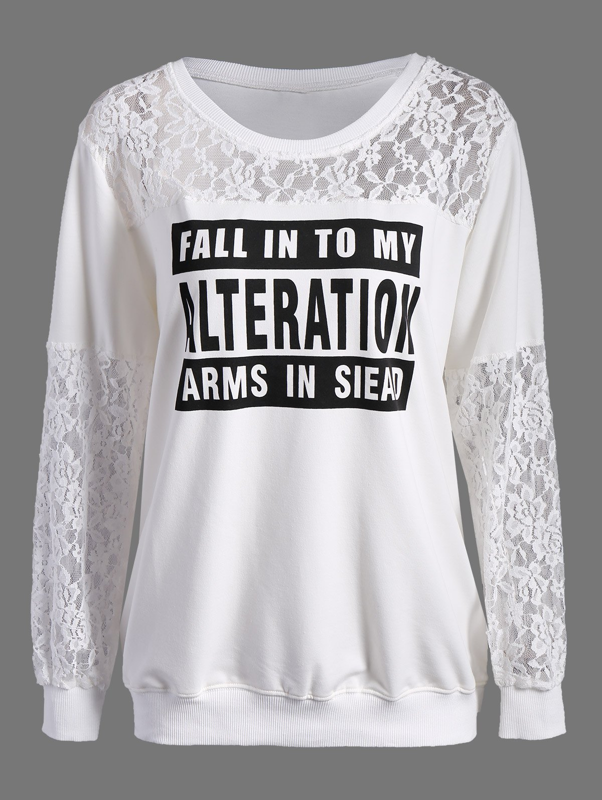 Lace Insert Graphic Pullover SweatshirtWomen<br><br><br>Size: 4XL<br>Color: WHITE