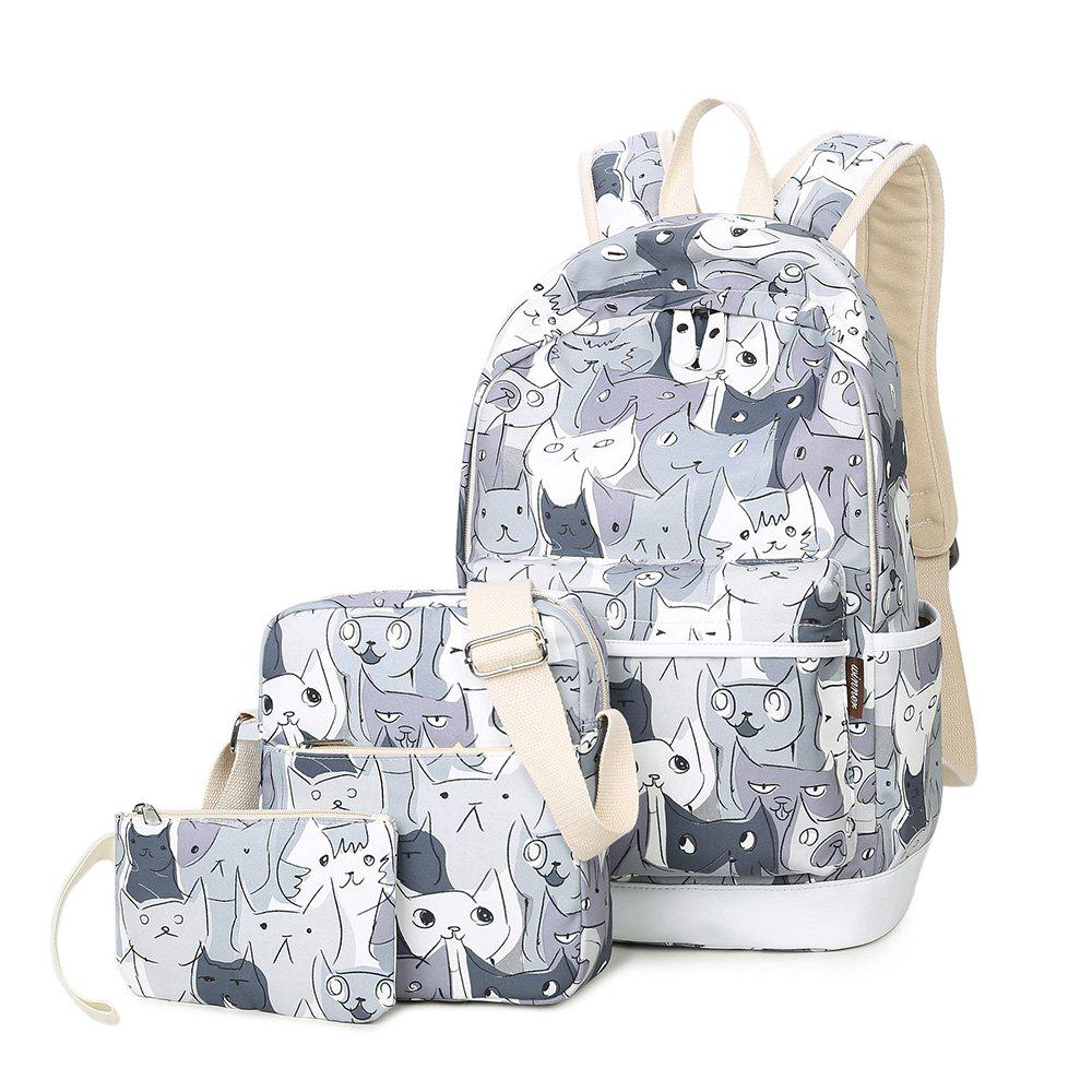 Casual Cat Print Backpack Set - GRAY