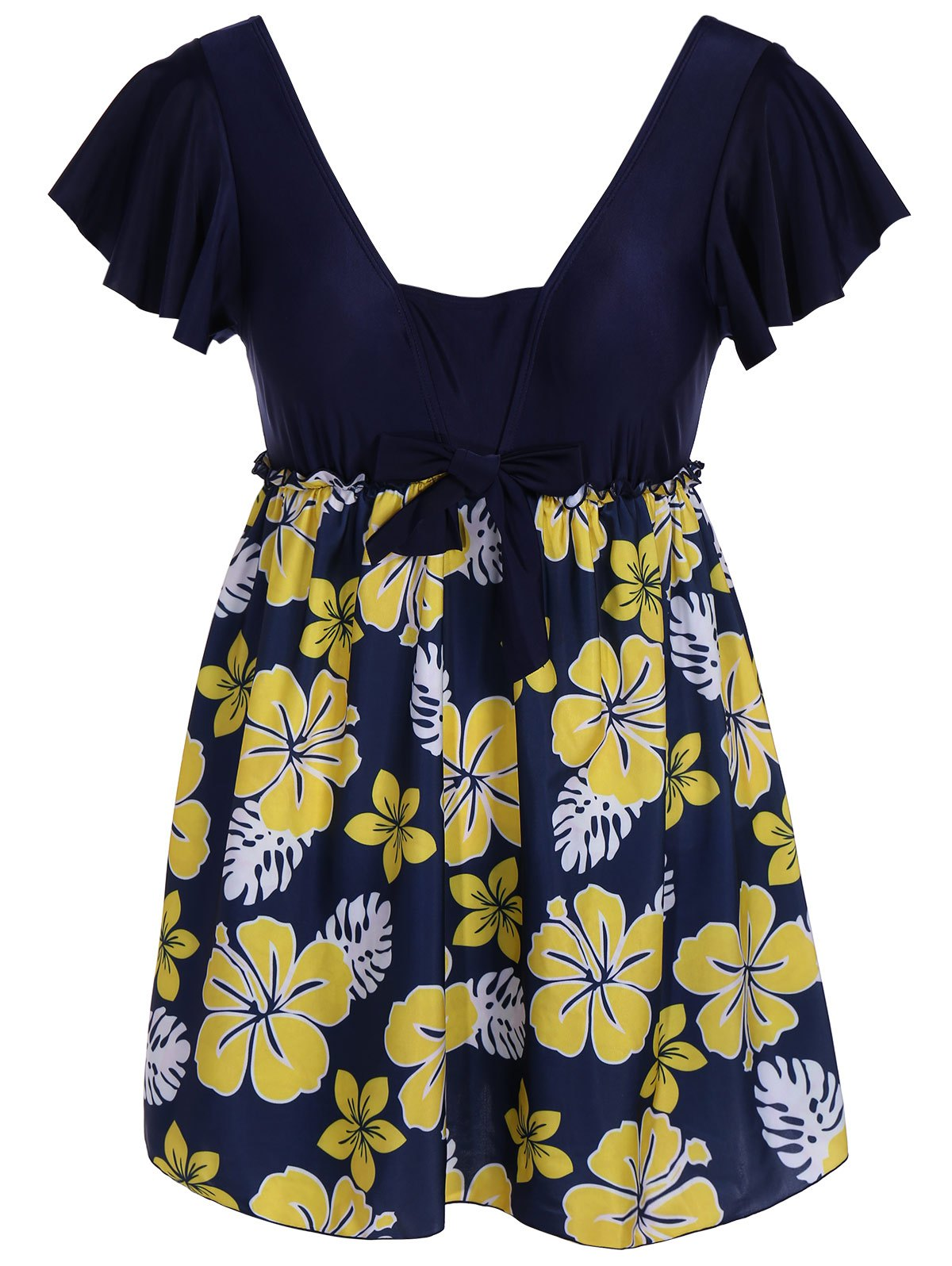 Refreshing Flower Print Square Collar Lace-Up Short Sleeve Swimsuit For Women - CADETBLUE 4XL