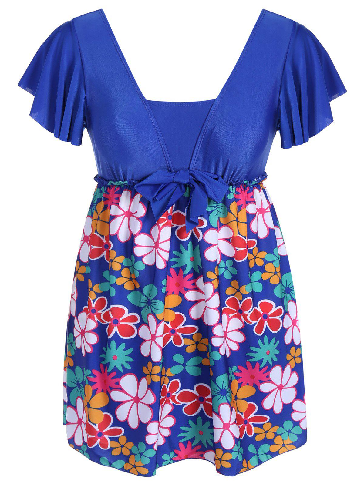 Refreshing Floral Print Square Collar Short Sleeve Swimsuit For Women - SAPPHIRE BLUE 5XL