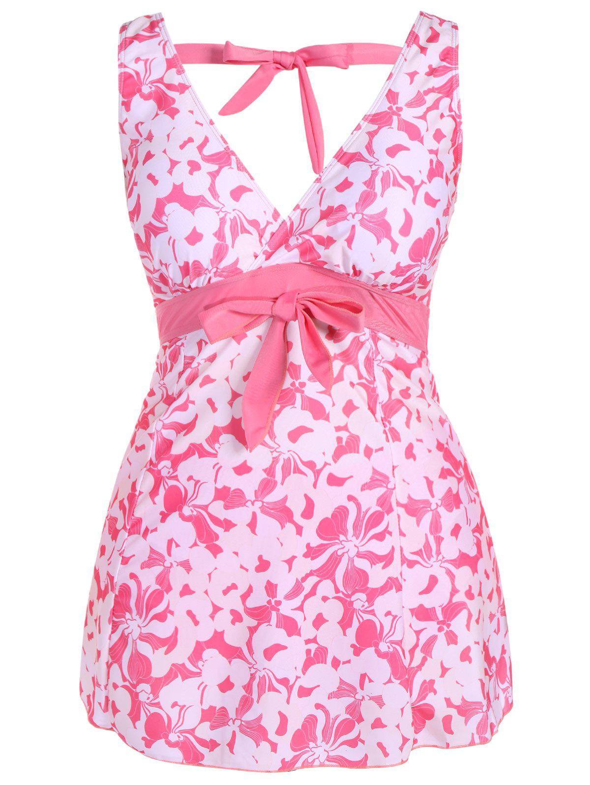 Fashionable Plunging Neck Bowknot Plus Size Women's Swimsuit - PINK 5XL