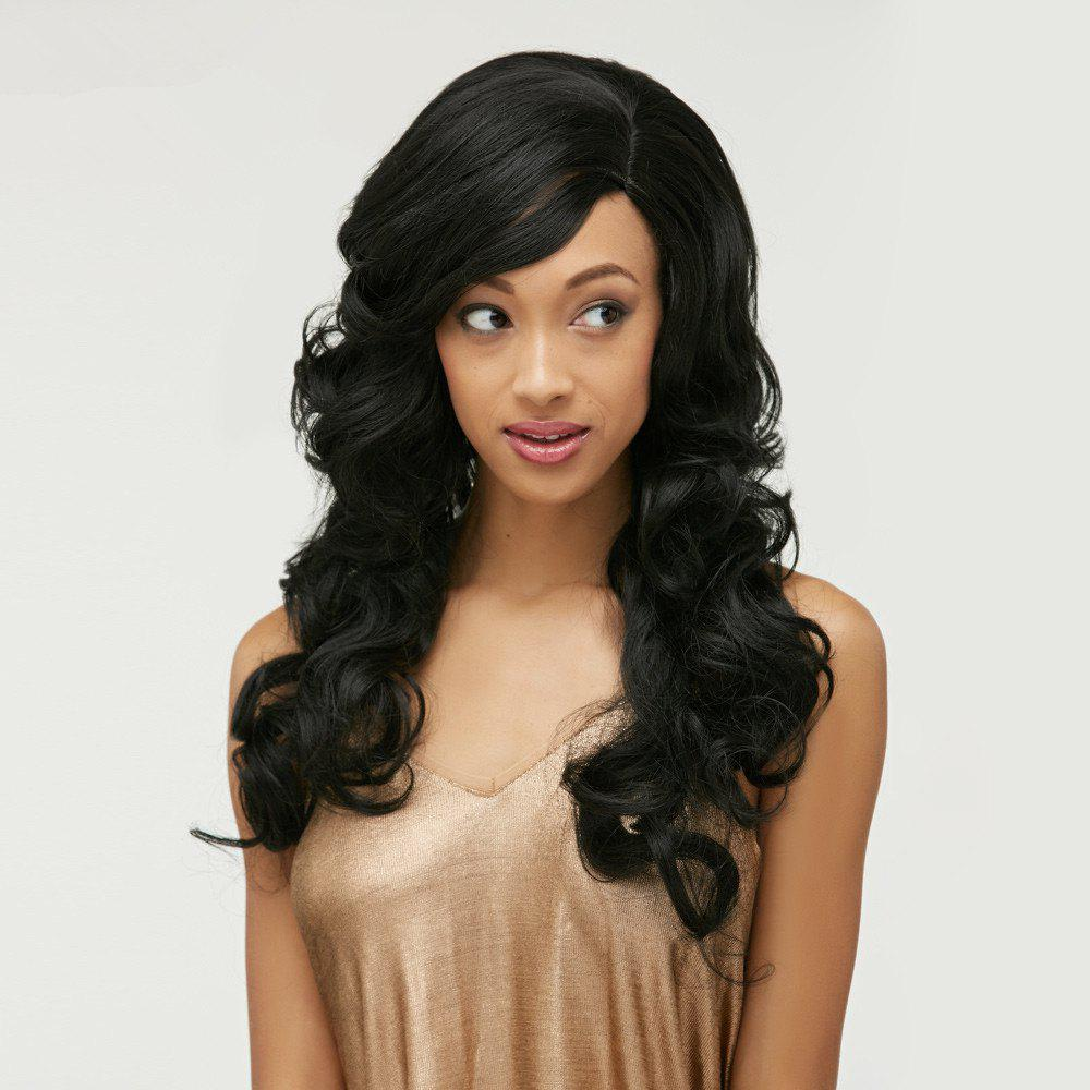 Long Body Wave Side Bang Front Lace Human Hair Wig - BLACK 24INCH