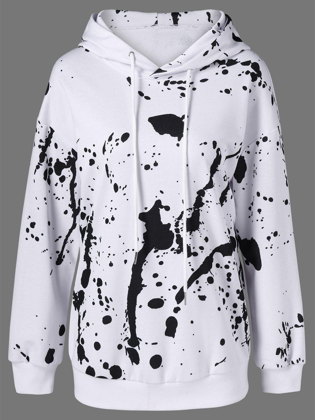 Splatter Paint Pullover HoodieWomen<br><br><br>Size: XL<br>Color: WHITE AND BLACK