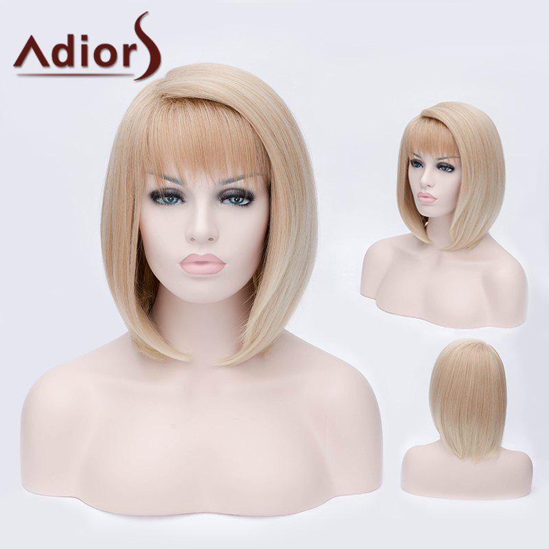 Adiors Short Side Bang Silky Bob Straight Party Synthetic WigHair<br><br><br>Color: COLORMIX