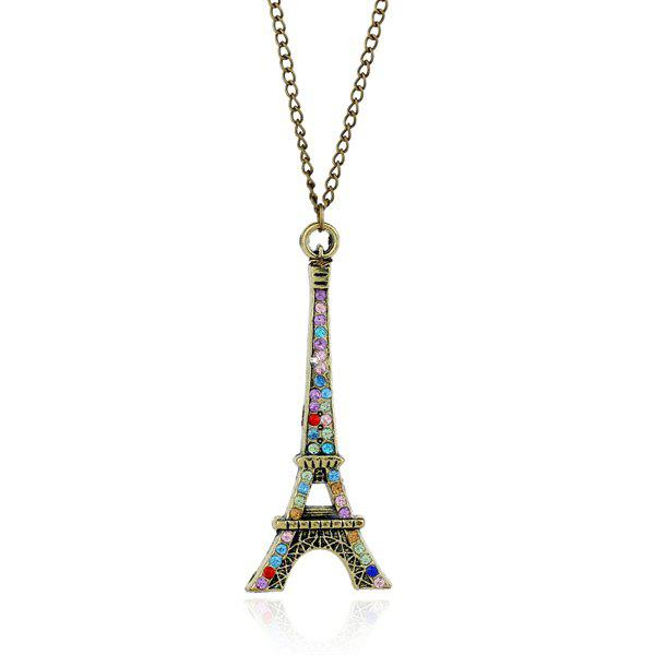 Eiffel Tower Rhinestone Sweater ChainJewelry<br><br><br>Color: BRONZE-COLORED