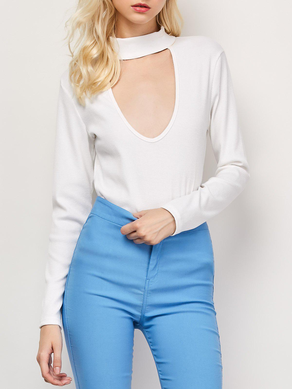 High Neck Cut Out Long Sleeve Fitted T-Shirt - WHITE S