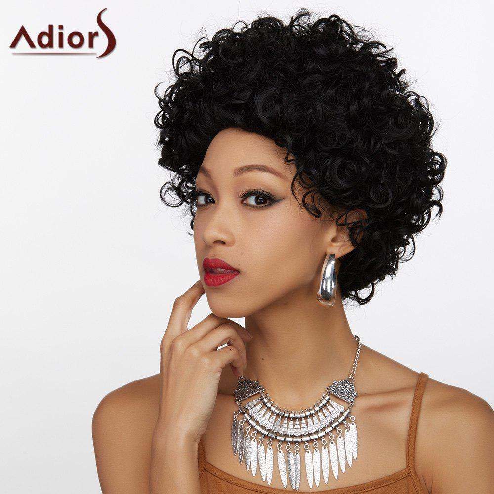 Adiors Outstanding Fluffy Short Curly Synthetic WigHair<br><br><br>Color: BLACK