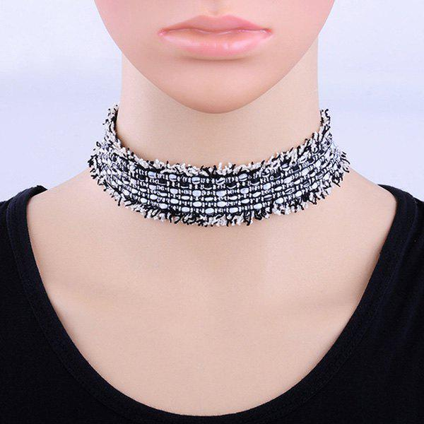 Canvas Wide Choker Necklace rhinestoned floral wide choker