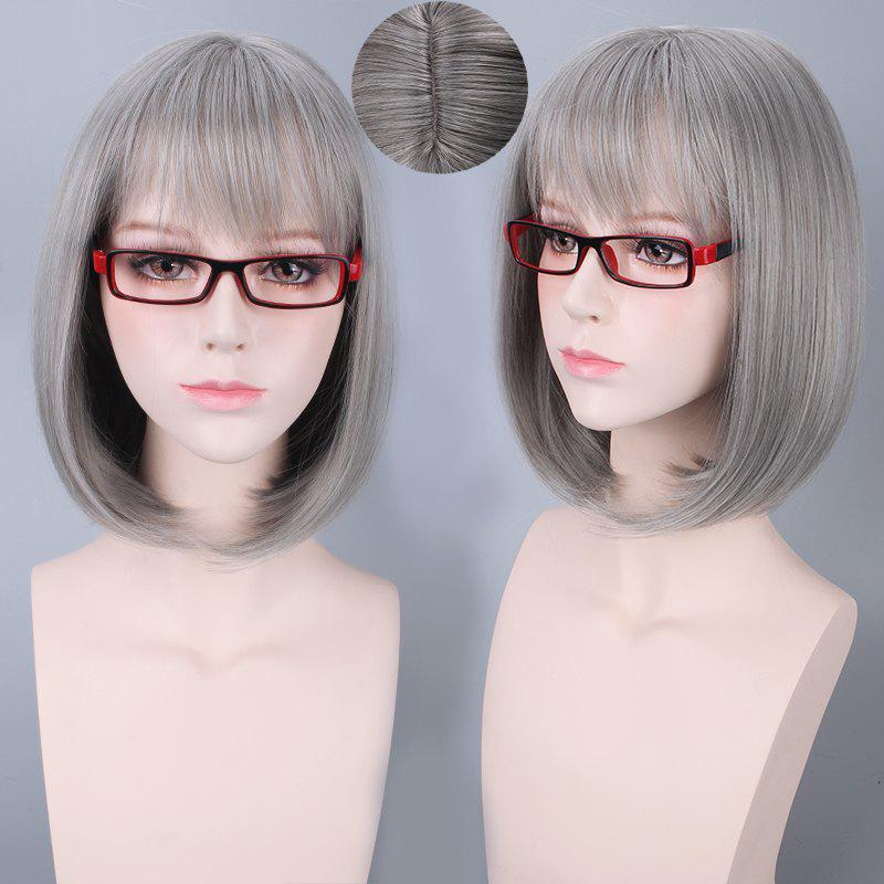Short Neat Bang Bob Straight Synthetic Cosplay Wig trendy bob straight short natural black neat bang heat resistant synthetic capless wig for women