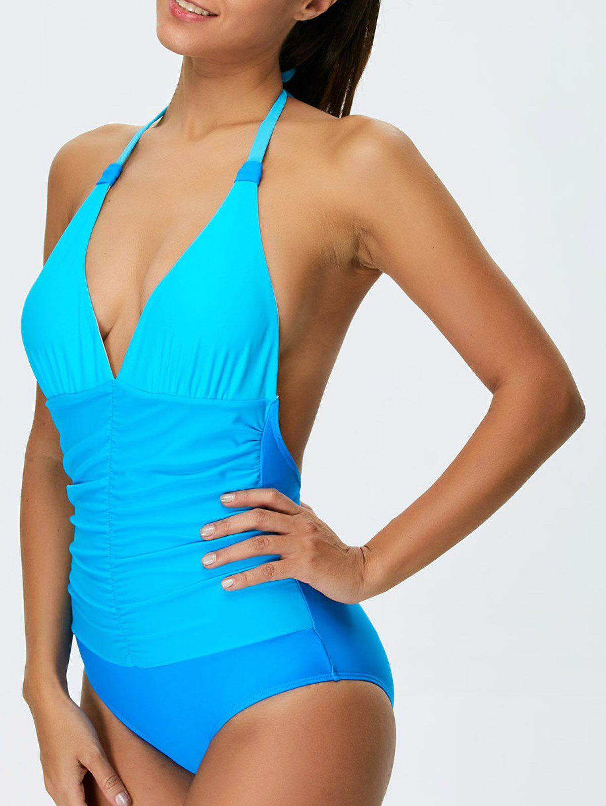 Ombre Halter Shaping One Piece Swimwear color block halter shaping one piece swimwear