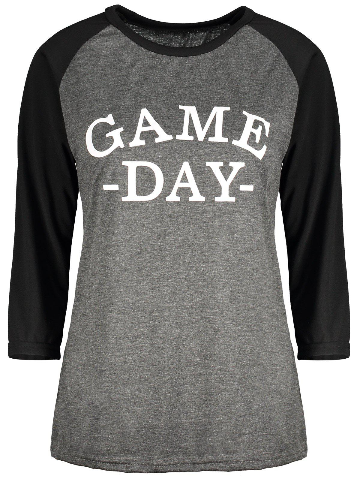 Raglan Sleeve Game Day TeeWomen<br><br><br>Size: L<br>Color: BLACK AND GREY