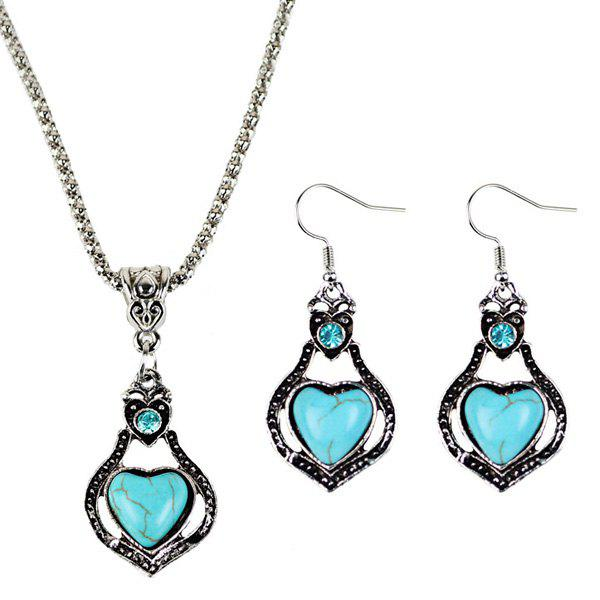 Faux Turquoise Heart Jewelry Set faux turquoise cow engraved jewelry set
