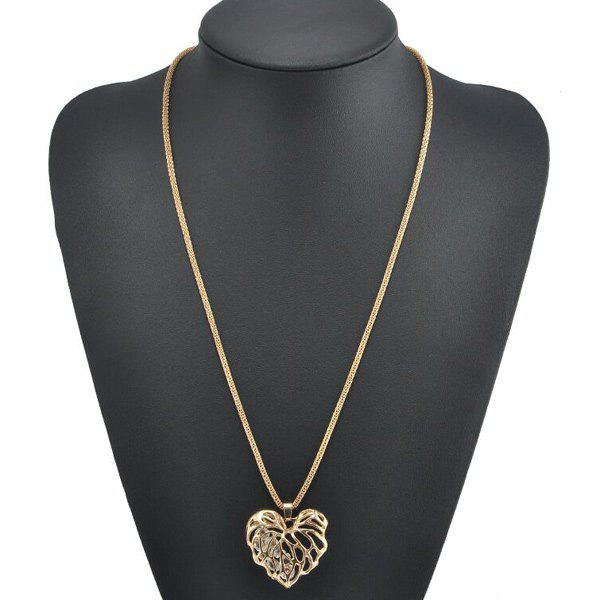 Heart Rhinestone Sweater Chain - GOLDEN