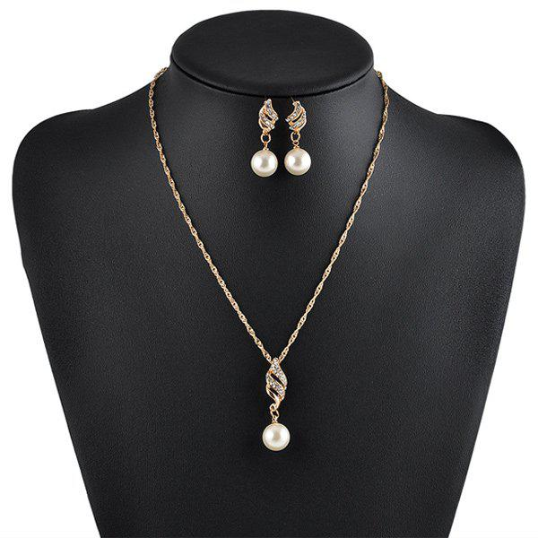 Rhinestoned Faux Pearl Necklace with EarringsJewelry<br><br><br>Color: GOLDEN