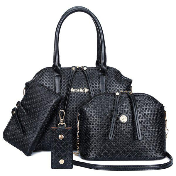 Fashionable Embossing and Zip Design Tote Bag For Women - BLACK