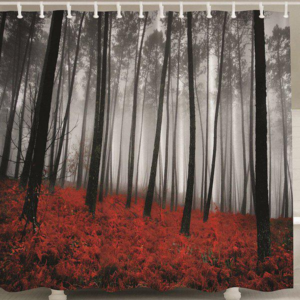Forest Print Polyester Shower Curtain with Hook - COLORMIX