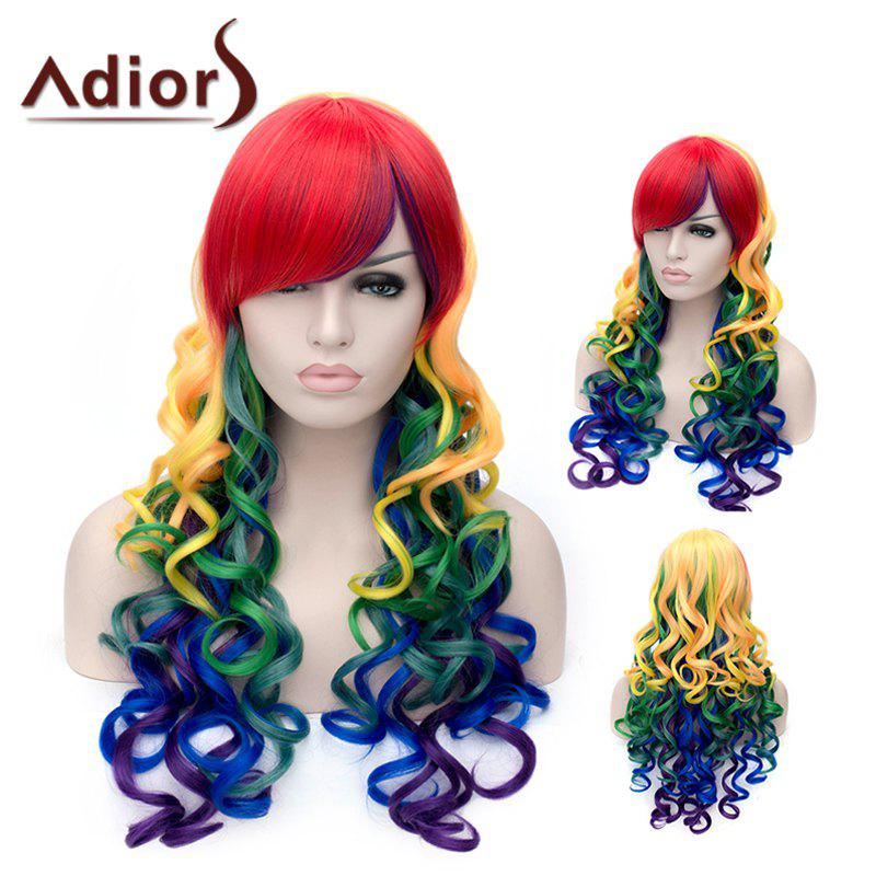 Adiors Side Bang Long Colorful Fluffy Wavy Party Synthetic Wig adiors long side bang color mixed wavy synthetic party wig