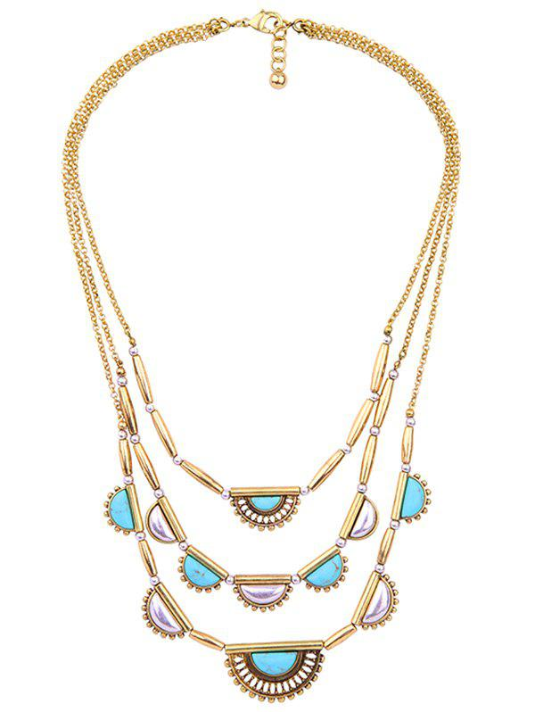 Artificial Turquoise Geometric Layered Necklace - GOLDEN