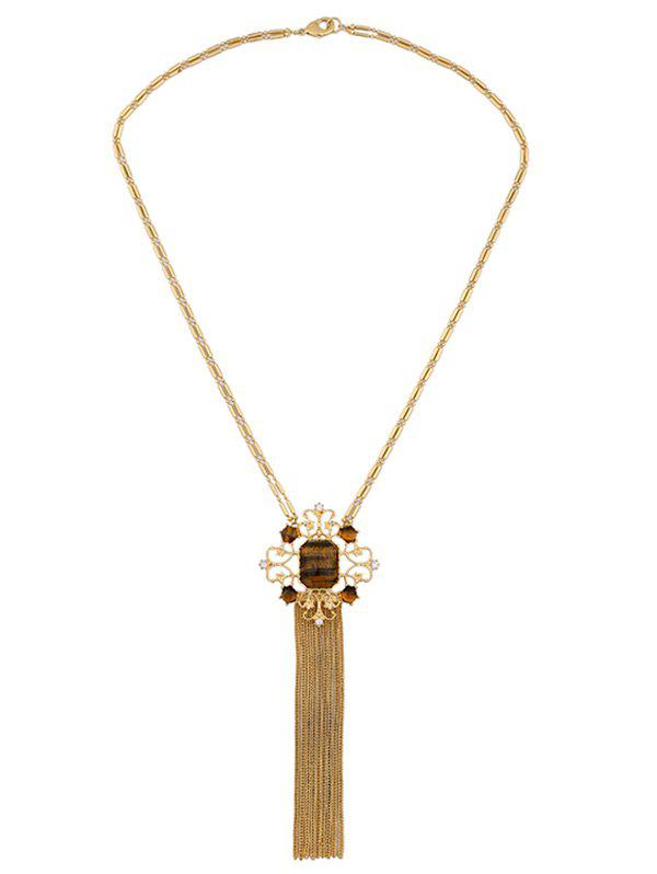 Artificial Gem Fringed Sweater Chain - GOLDEN
