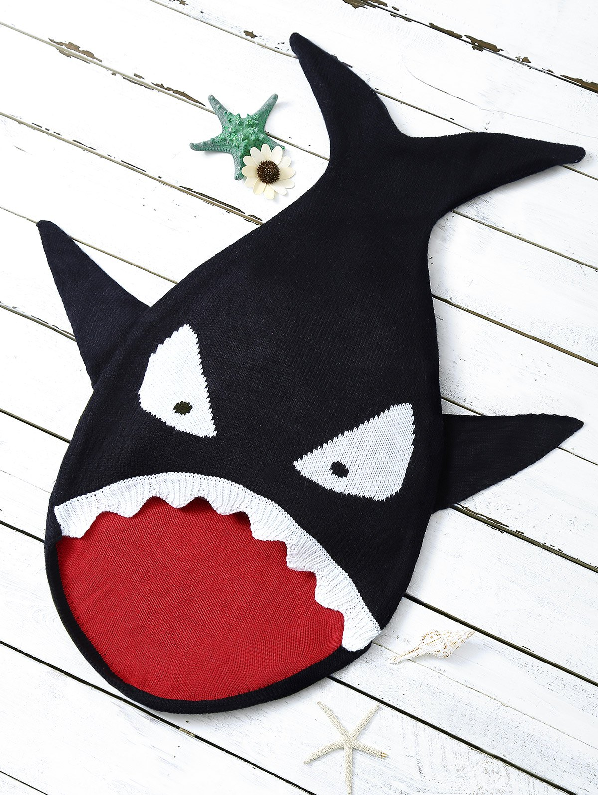 Cartoon Shark Shape Blanket Throw For Baby - BLACK