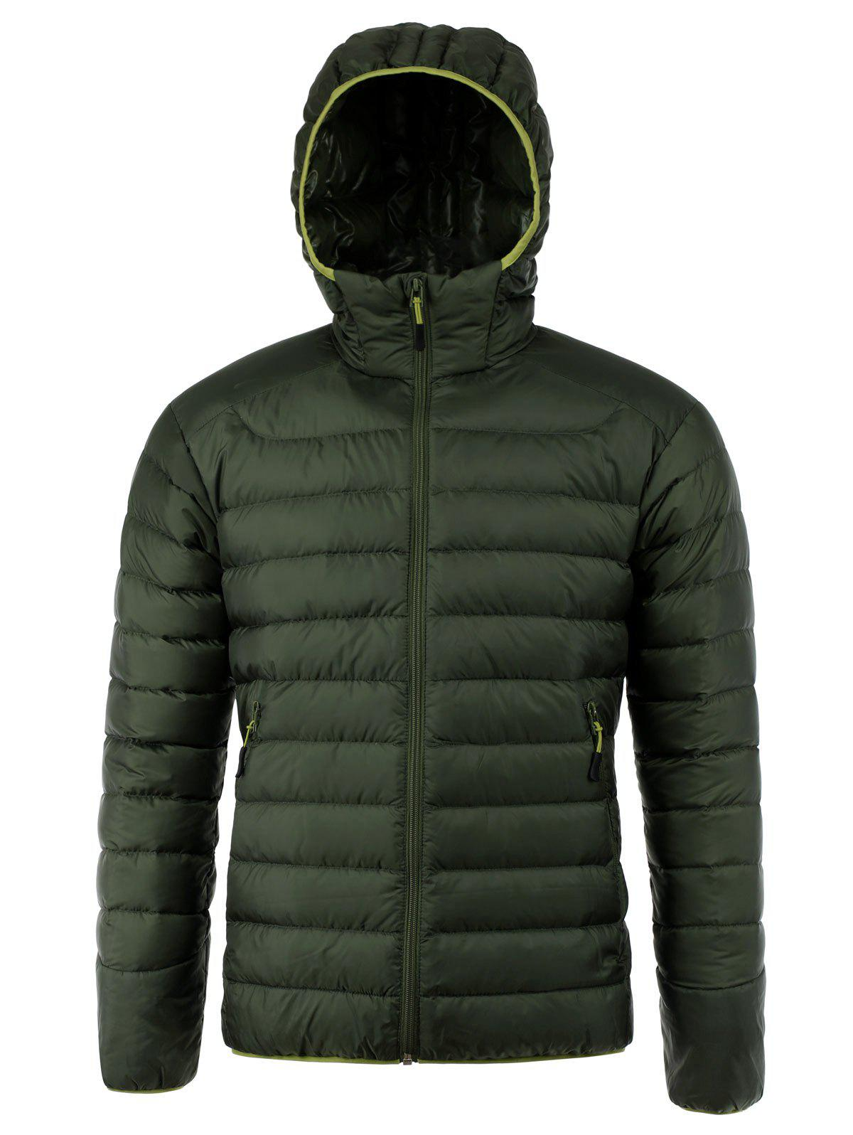 Pockets Design Zip Up Hooded Down Jacket - GREEN 2XL