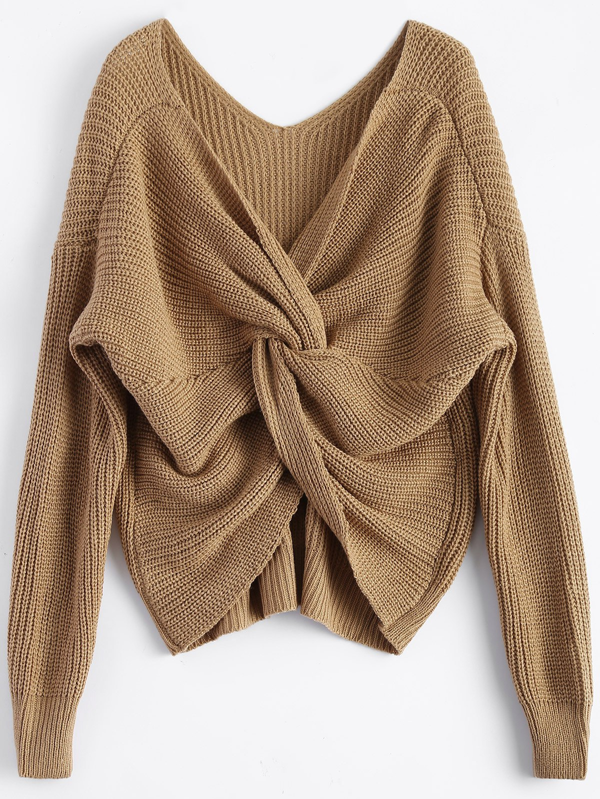 Twisted Back Sweater - KHAKI ONE SIZE