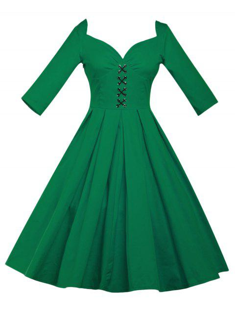 Lace Up Bowknot Vintage Swing Dress - GREEN M