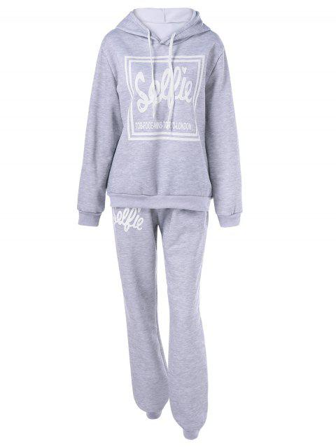 Hooded Letter Graphic Sweatshirt with Jogger Pants - LIGHT GRAY XL