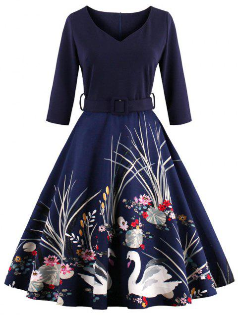 Vintage Printed Fit and Flare Waisted Dress - PURPLISH BLUE 2XL