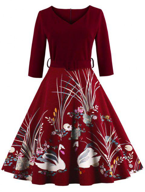 Vintage Printed Fit and Flare Waisted Dress - BURGUNDY 2XL