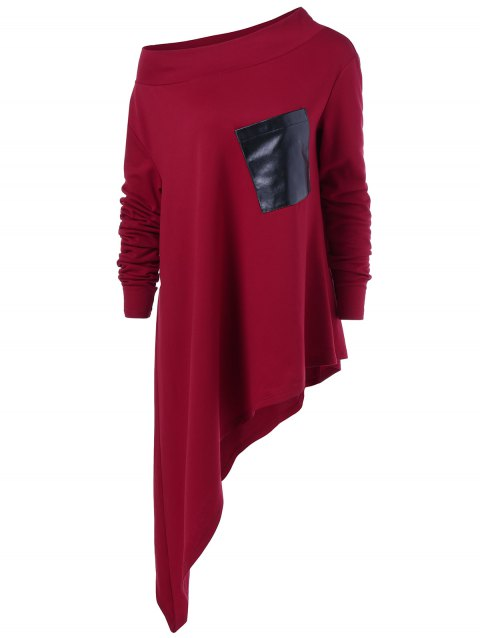 Asymmetric Skew Neck Pocket T-Shirt - DEEP RED XL