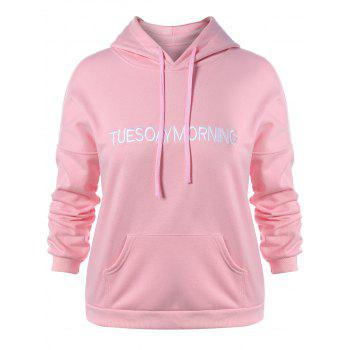Plus Size Letter Embroidery Kangaroo Pocket Hoodie