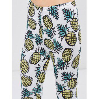 Skinny Pineapple Print Leggings - WHITE WHITE