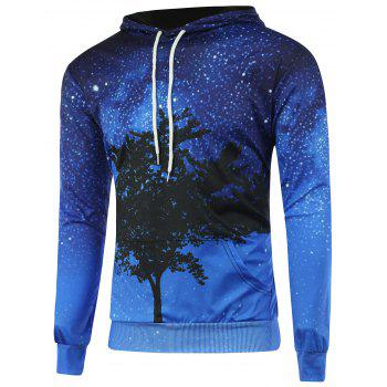 Galaxy Tree Branch Printed Long Sleeve Hoodie