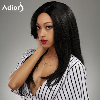 Attractive Long Side Bang Synthetic Black Straight Capless Wig For Women - BLACK