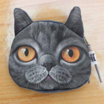 Zipper 3D Animal Kitten Coin Purse -  BLACK