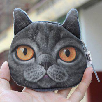 Zipper 3D Animal Kitten Coin Purse - BLACK BLACK