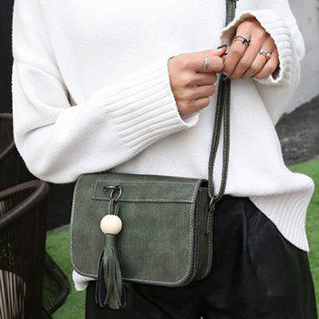 Tassels Wood Ball Crossbody Bag