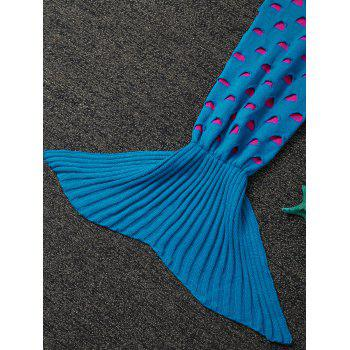 Broken Hole Kids' Knitted Mermaid Blanket Throw - LAKE BLUE