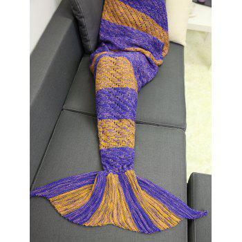 Hollow Out Crochet Knit Striped Mermaid Blanket Throw