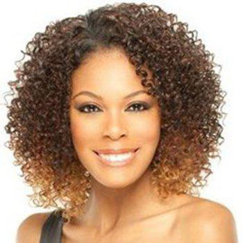 Fluffy Afro Curly Synthetic Trendy Medium Deep Brown Ombre Wig For Women - OMBRE 1211# OMBRE