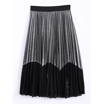Velvet Color Block Pleated Skirt