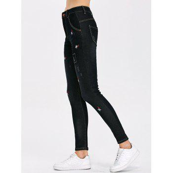 High Waist Distressed Letter Embroidery Jeans - BLACK 28