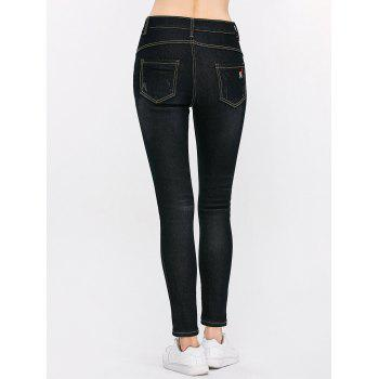 High Waist Distressed Letter Embroidery Jeans - 28 28