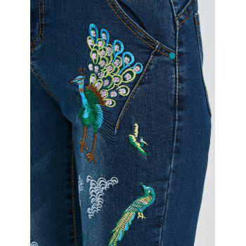 Peacock Embroidered High Waist Jeans - DEEP BLUE DEEP BLUE