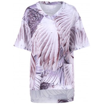 Wing Print Plus Size High Low T-Shirt