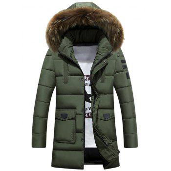 Buy Large Pocket Faux Fur Hooded Padded Coat ARMY GREEN